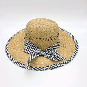 Straw Summer Hat Polk Dots Ribbon